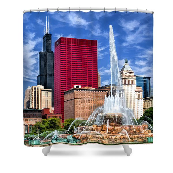 Chicago Buckingham Fountain Sears Tower Shower Curtain