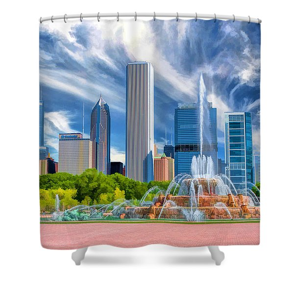Buckingham Fountain Chicago Skyscrapers Shower Curtain