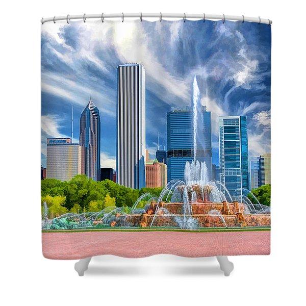 Buckingham Fountain Chicago Skyscrapers Shower Curtain