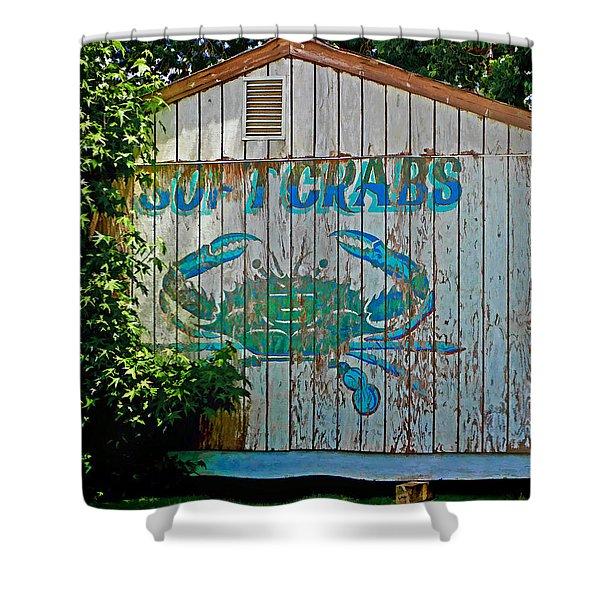 Buckroe Crab Shack Shower Curtain