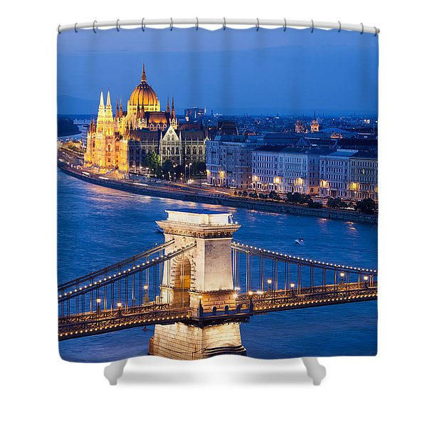 Budapest Cityscape At Night Shower Curtain