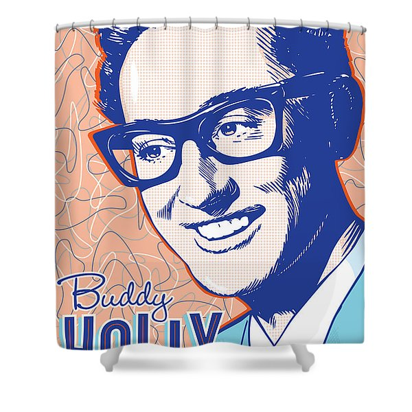 Buddy Holly Pop Art Shower Curtain