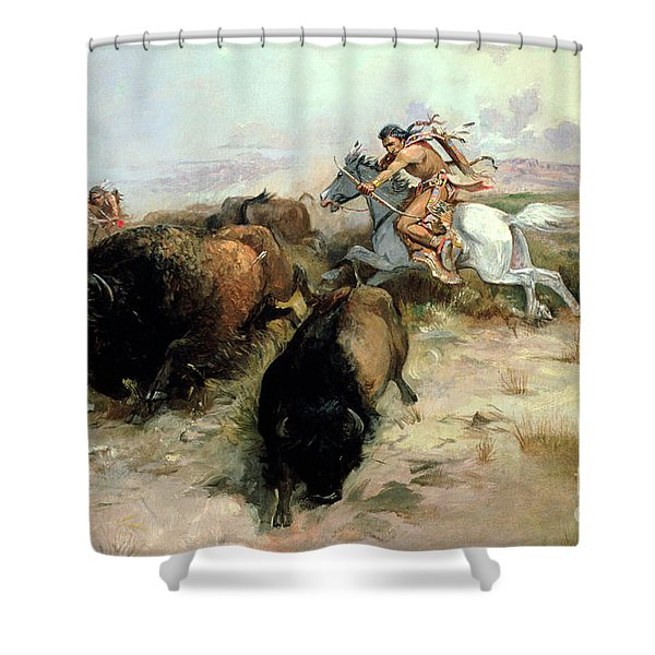 Buffalo Hunt Shower Curtain