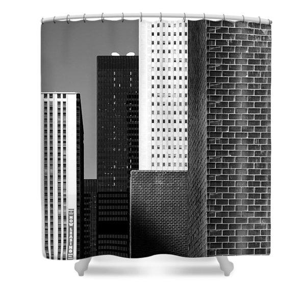 Building Blocks Black White Shower Curtain