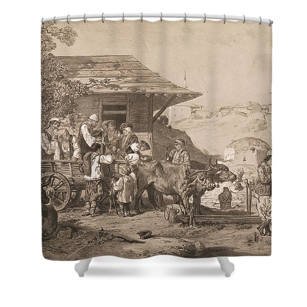 Bulgarians Near Varna, Printed By Lemercier, Paris Litho Shower Curtain