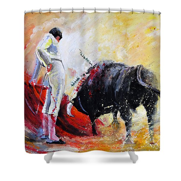 Bull In Yellow Light Shower Curtain
