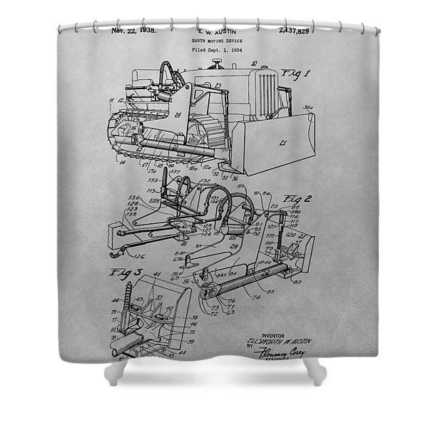 Bulldozer Patent Drawing Shower Curtain