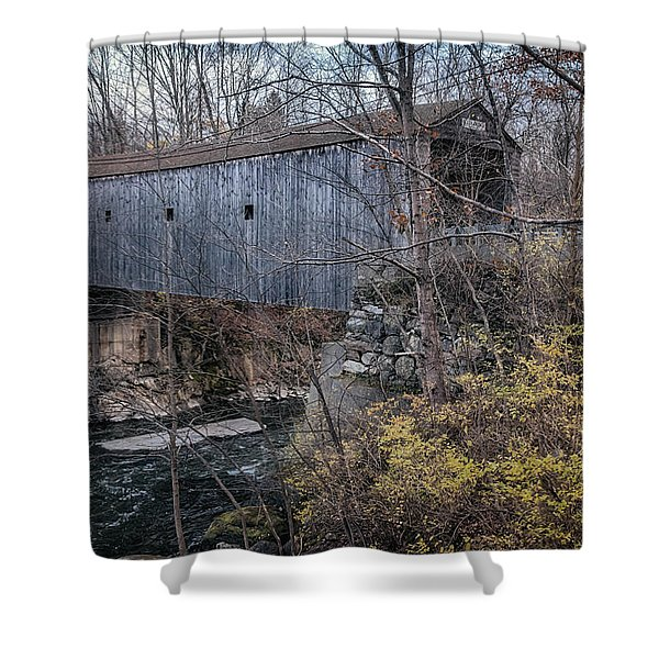 Bulls Bridge Covered Bridge Shower Curtain