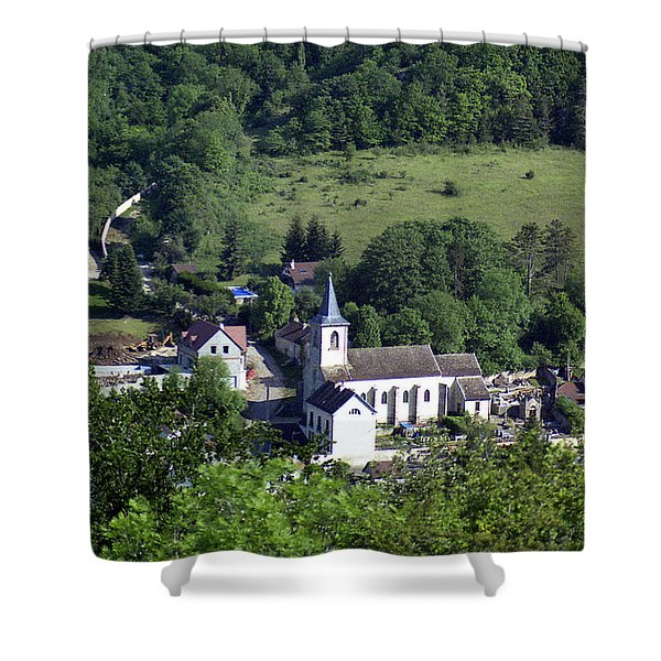 Burgundy Village Shower Curtain