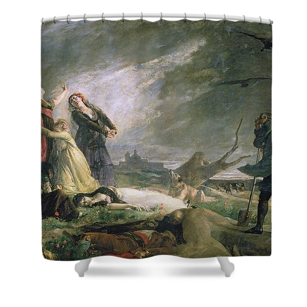 Burial At La Moncloa In May 1808 Oil On Canvas Shower Curtain