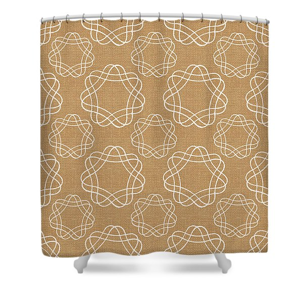 Burlap And White Geometric Flowers Shower Curtain