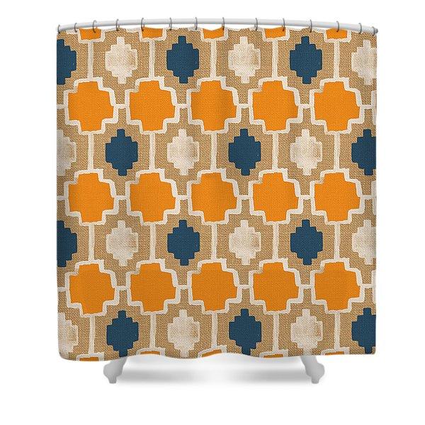 Burlap Blue And Orange Design Shower Curtain