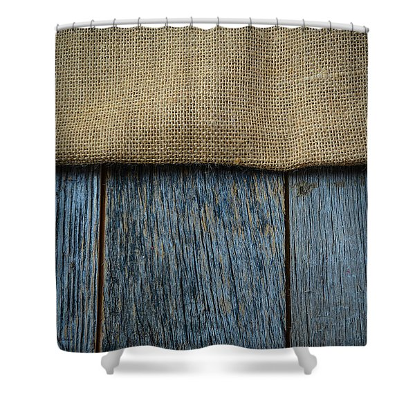 Burlap Texture On Wooden Table Background Shower Curtain