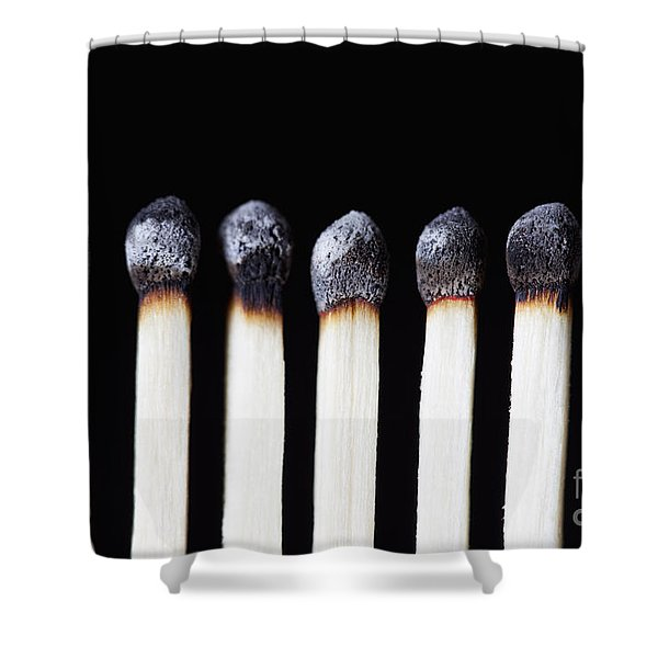 Burnt Matches On Black Shower Curtain