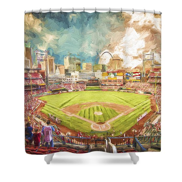 Busch Stadium St. Louis Cardinals Day Paint Shower Curtain