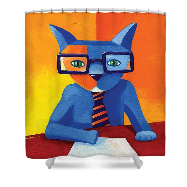 Business Cat Shower Curtain