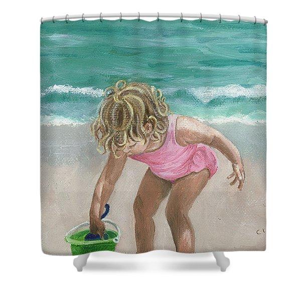 Busy Beach Girl Shower Curtain