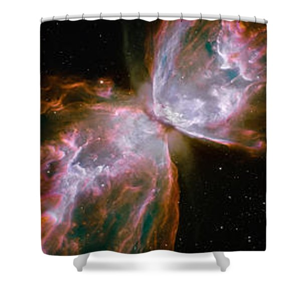 Butterfly Nebula With Iris And Pink Shower Curtain
