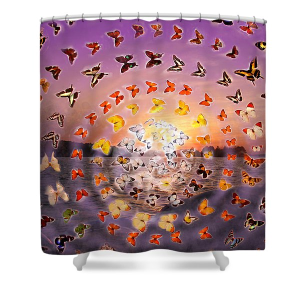 Butterfly Sunset Shower Curtain