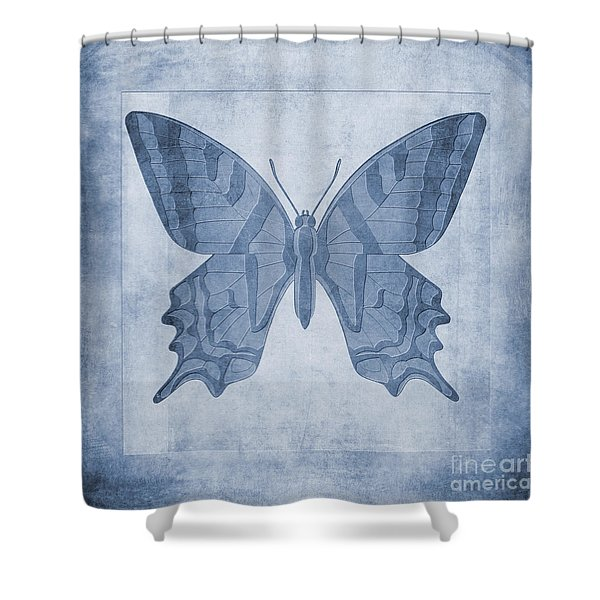 Butterfly Textures Cyanotype Shower Curtain