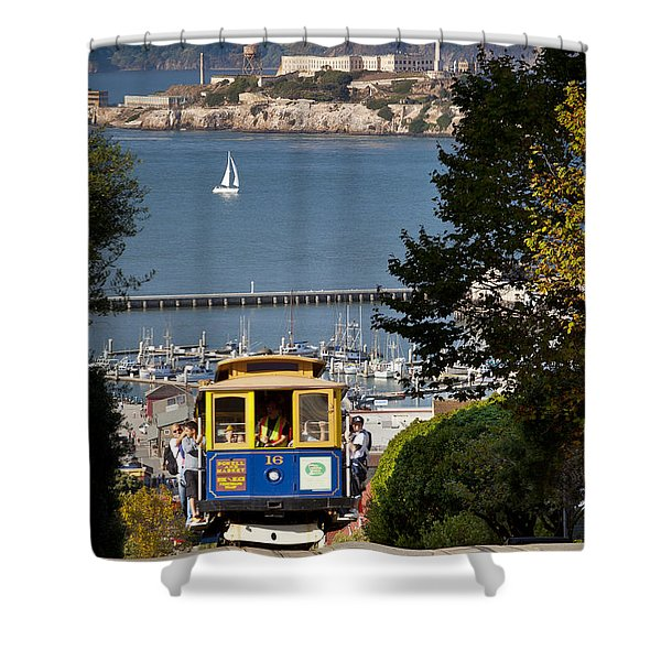Shower Curtain featuring the photograph San Francisco Cable Car On Hyde Street Print By Brian Jannsen Photography by Brian Jannsen