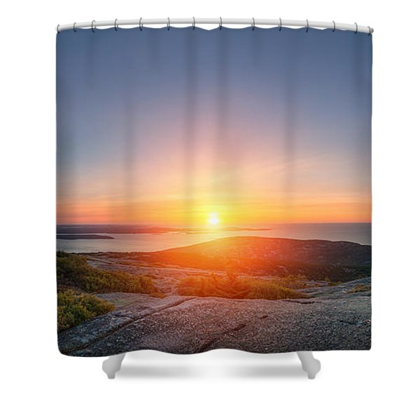 Cadillac Mountain Sunrise Panorama Shower Curtain