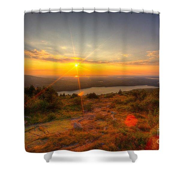 Cadillac Mountain Sunset Acadia National Park Bar Harbor Maine Shower Curtain