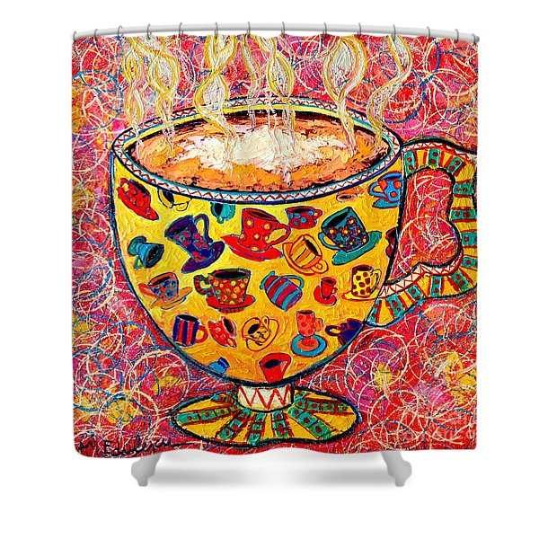 Cafe Latte - Coffee Cup With Colorful Coffee Cups Some Pink And Bubbles  Shower Curtain