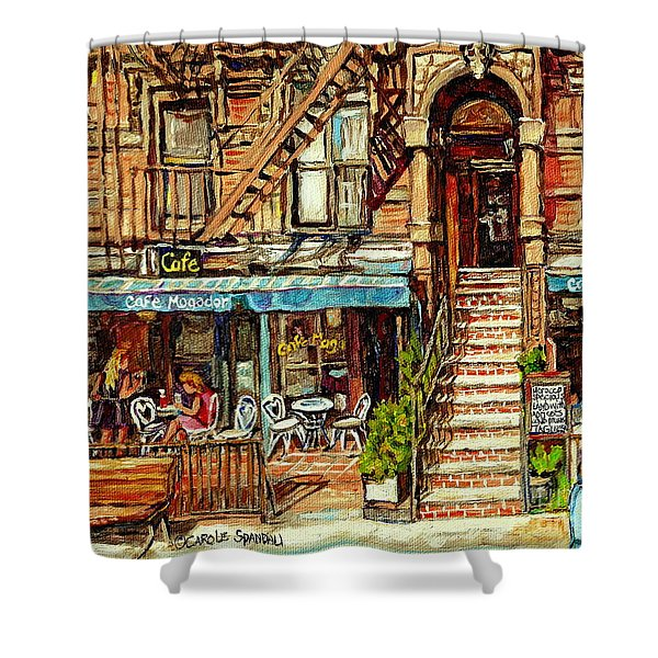 Cafe Mogador Moroccan Mediterranean Cuisine New York Paintings East Village Storefronts Street Scene Shower Curtain