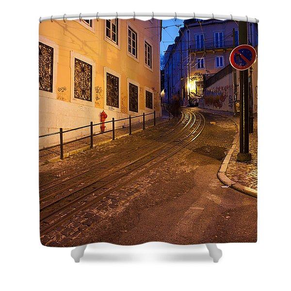 Calcada Da Gloria Street At Night In Lisbon Shower Curtain