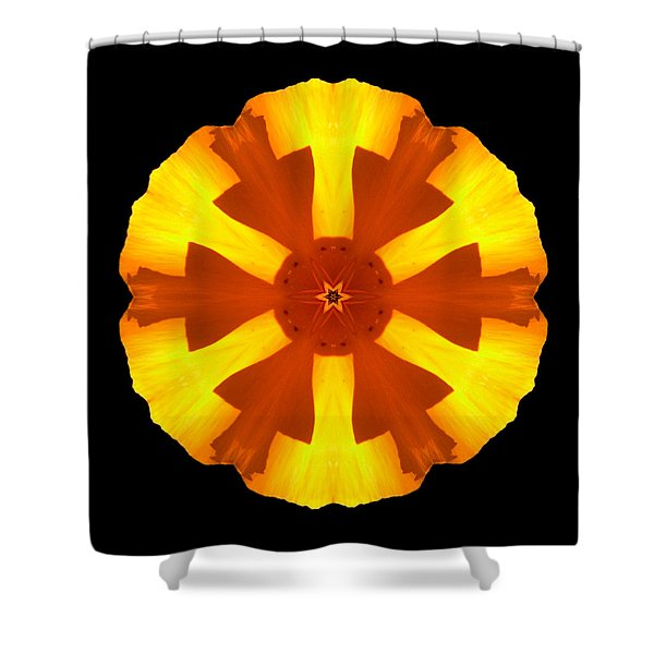 California Poppy Flower Mandala Shower Curtain