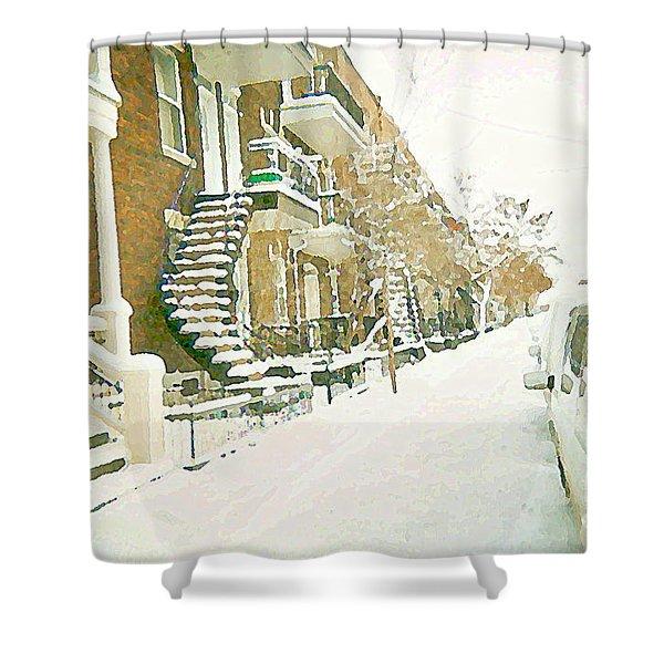 Calm After The Storm Winter Whites Snow Scene Verdun Montreal Quebec Paintings Cspandau Art Shower Curtain