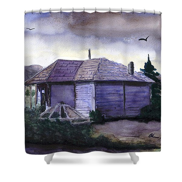 Camp Creek School Watercolor Shower Curtain