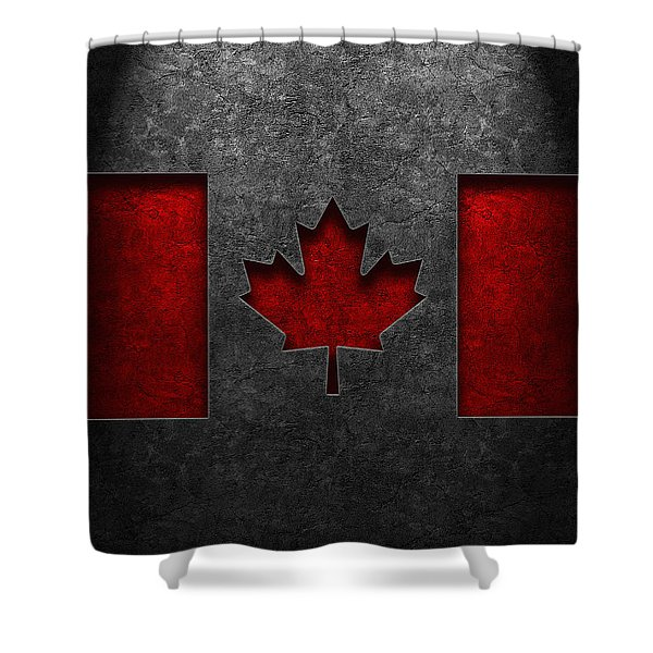 Canadian Flag Stone Texture Shower Curtain