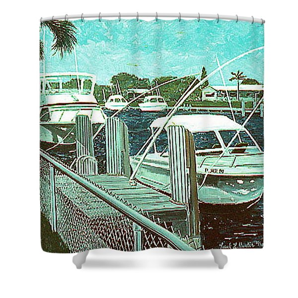 Canal At Pompano Shower Curtain