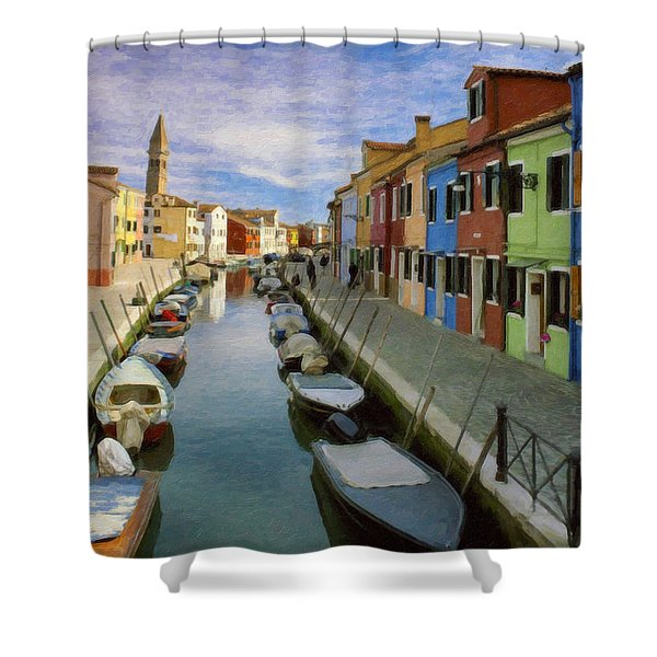 Canal Burano  Venice Italy  Shower Curtain