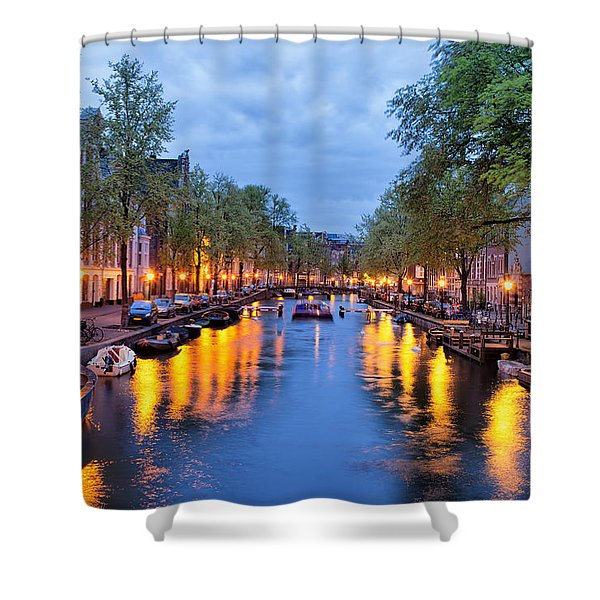 Canal In Amsterdam At Dusk Shower Curtain