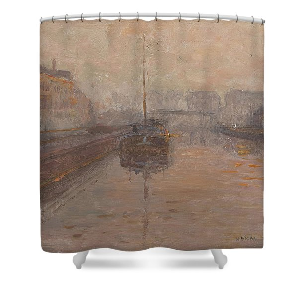 Canal With Barge  Shower Curtain