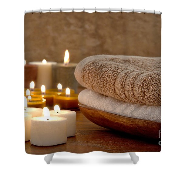 Candles And Towels In A Spa Shower Curtain
