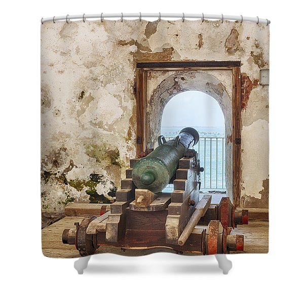 Shower Curtain featuring the photograph Cannon At Fort San Felipe Del Morro by Bryan Mullennix