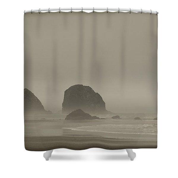 Cannon Beach In A Fog Oregon Shower Curtain