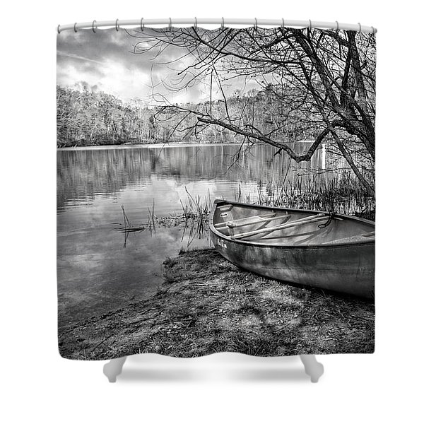 Canoe At The Lake Black And White Shower Curtain