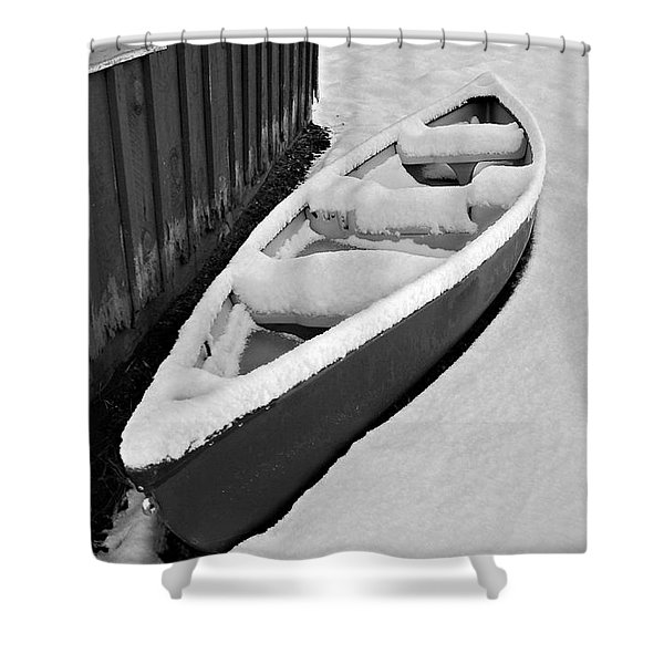 Canoe In The Snow Shower Curtain
