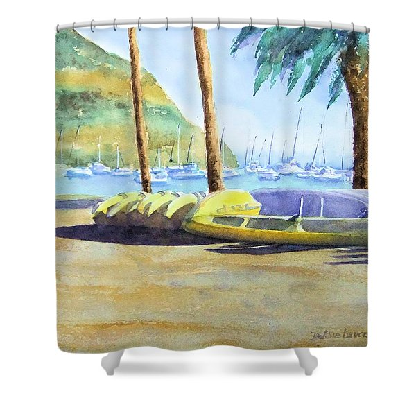 Canoes And Surfboards In The Morning Light - Catalina Shower Curtain