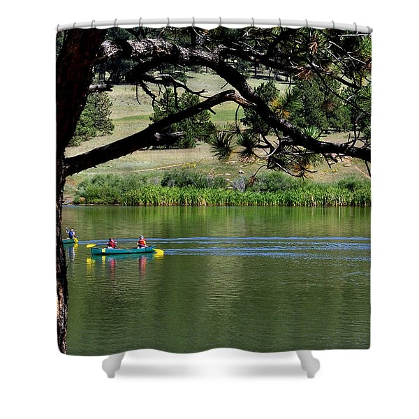 Canoes On Manitou Lake 11957 Shower Curtain