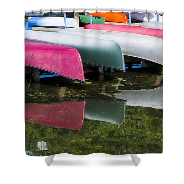 canoes - Lake Wingra - Madison  Shower Curtain