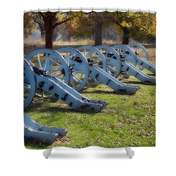 Shower Curtain featuring the digital art Canon Formation by Leeon Photo