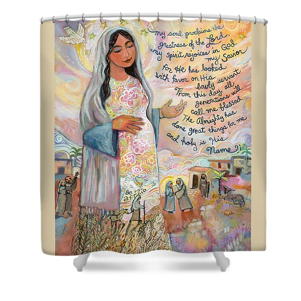 Canticle Of Mary Shower Curtain