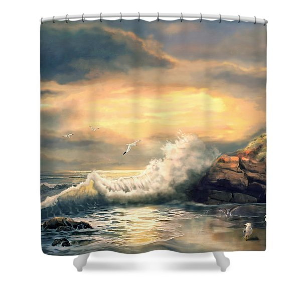 Twindeling Light Cape Lookout Lighthouse North Carolina At Sunset  Shower Curtain