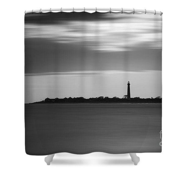 Cape May Lighthouse Long Exposure Bw Shower Curtain